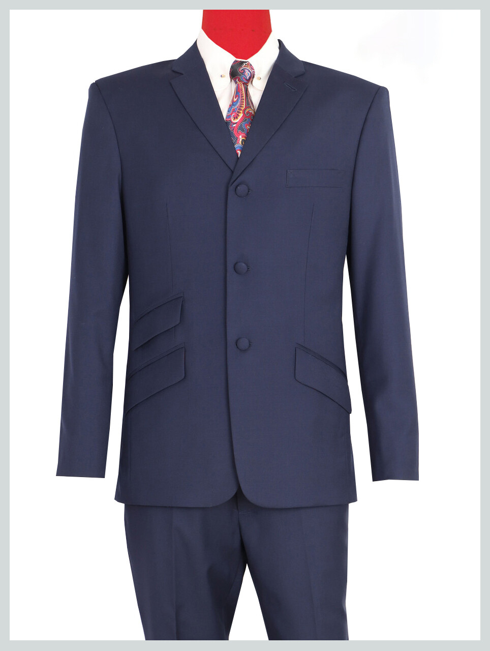 Navy Blue Mod Suit | 60s Covered Button Suit