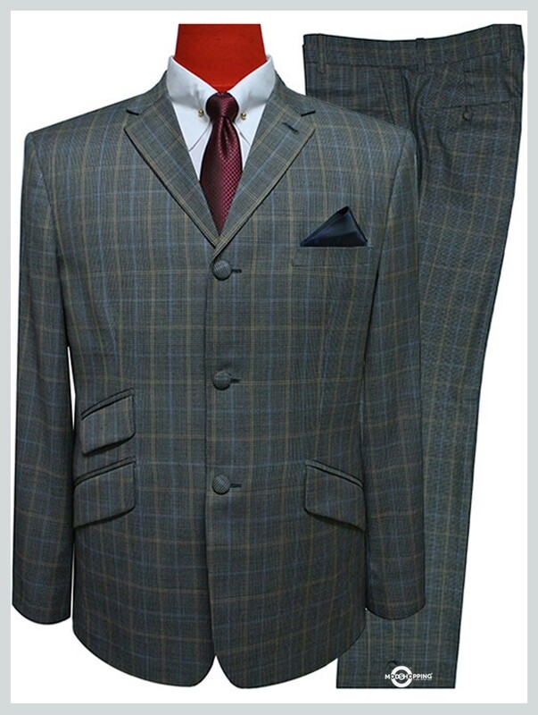 prince of wales 3 button tailored brown check suit