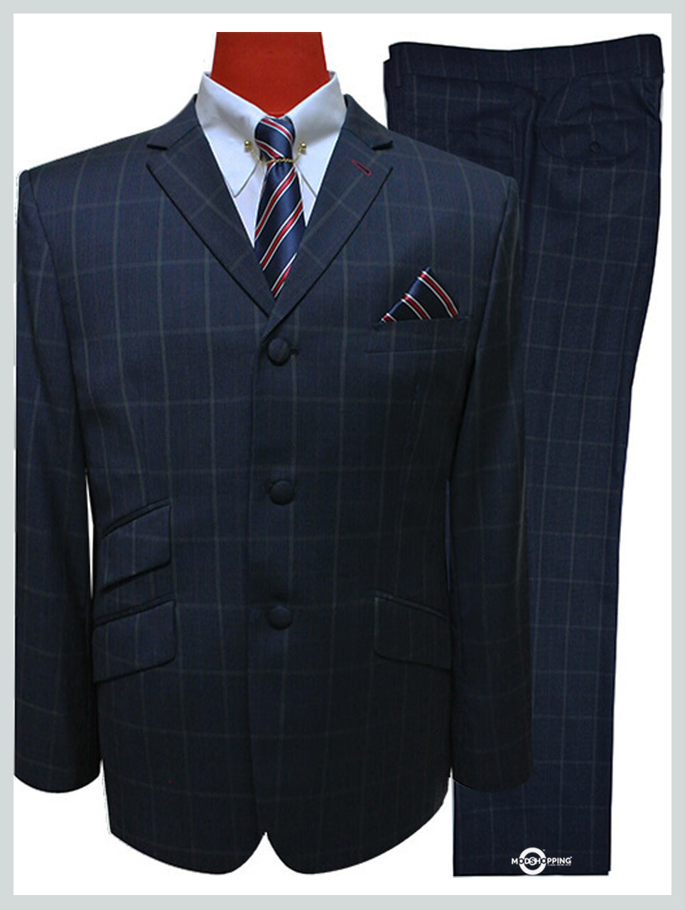Houndstooth Dark Navy Blue Check Mod Suit