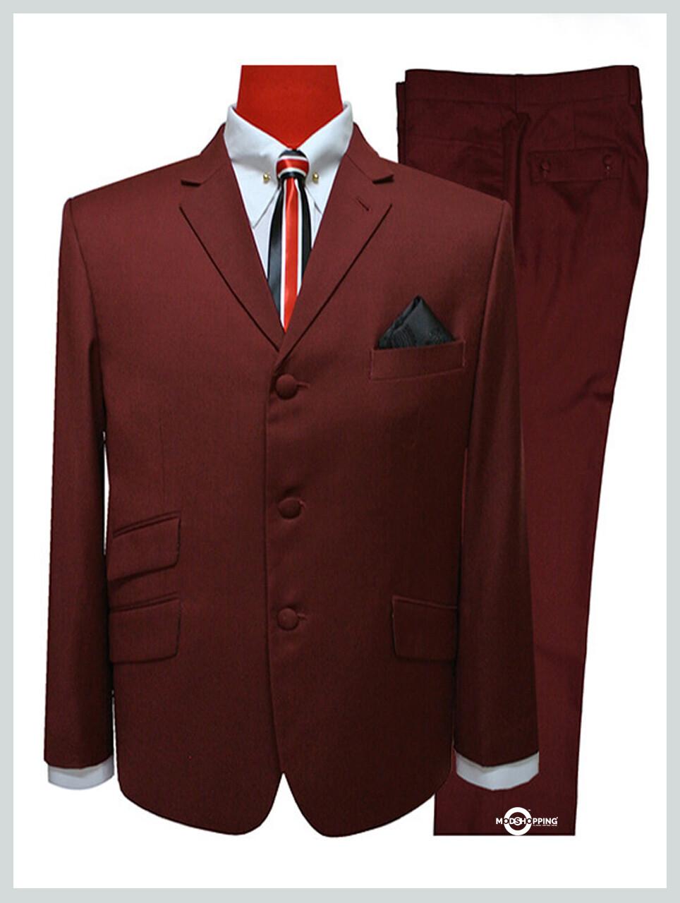 mod suit | burgundy suit for men,tailored 3 button