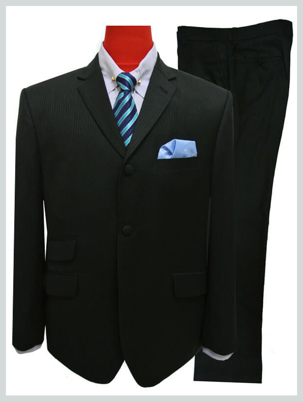 mod fashion self stripe black 3 button mod suit
