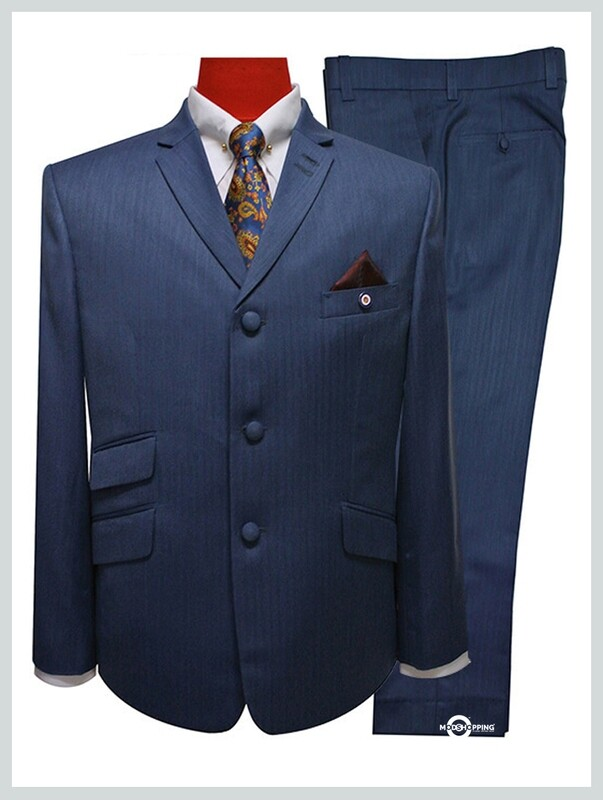tailored herringbone blue men's mod suit