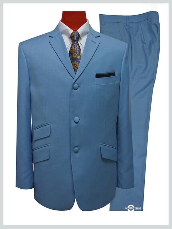 mod suit sky blue mohair 3 button mod suit