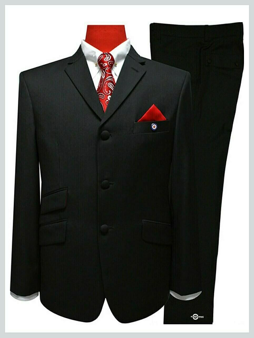 black suit| tailored 3 button black mod suit for men