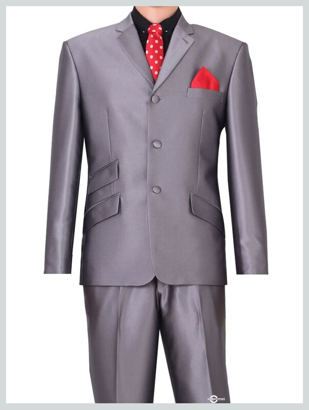60s vintage modshopping silver tonic suit