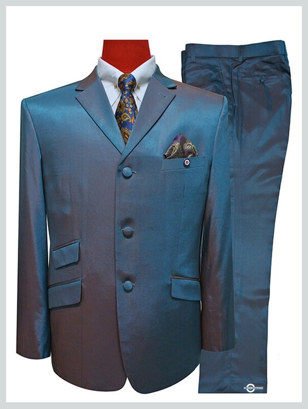 two tone  suit orange and light sea green two tone mod style 60s tailored suit for men