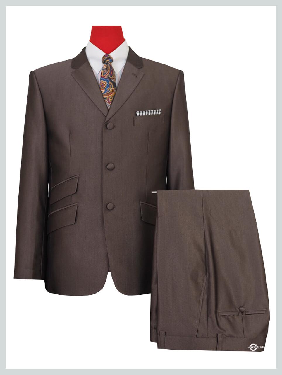 Tonic Suit Classic Dark Brown Mod Clothing 60s Mod 3 Button Suit