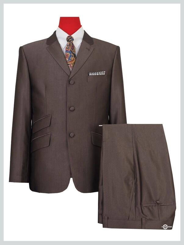 Tonic Suit|Classic Dark Brown Mod Clothing 60s Mod 3 Button Suit
