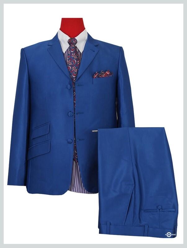 Tonic Suit|60s Mod Tailored Royal Blue Tonic Suit For Men