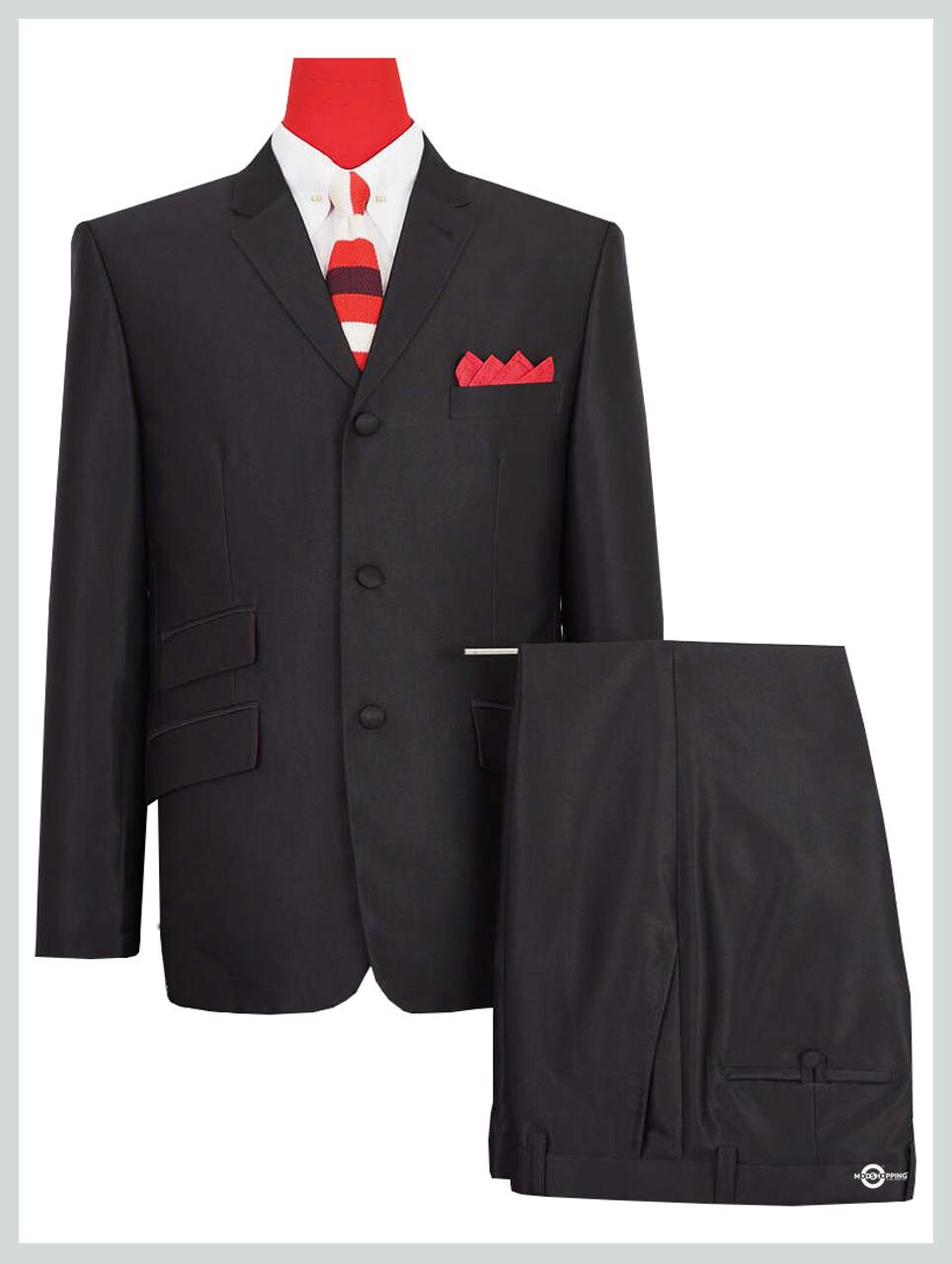 tonic suit  essential tailored classic black mod tonic suit for men