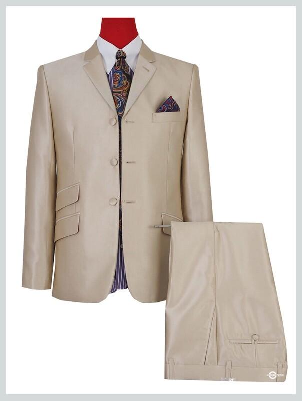 pale gold tonic suit,mod fashion 3 button mod suit