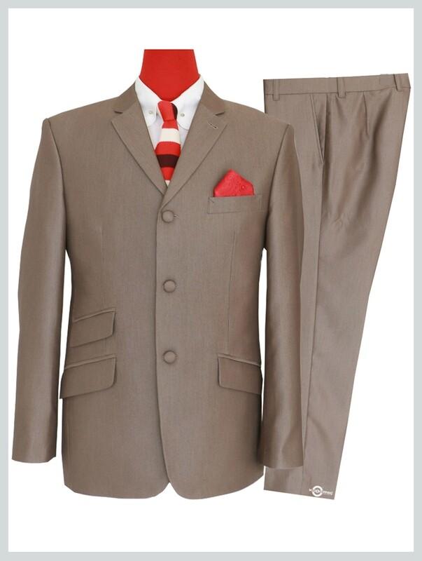 Tonic suits|Radish brown semi tonic 70s suit for man
