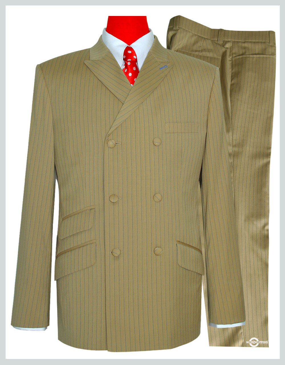 Double Breasted Suit | Khaki With Blue Stripe 60s Suit