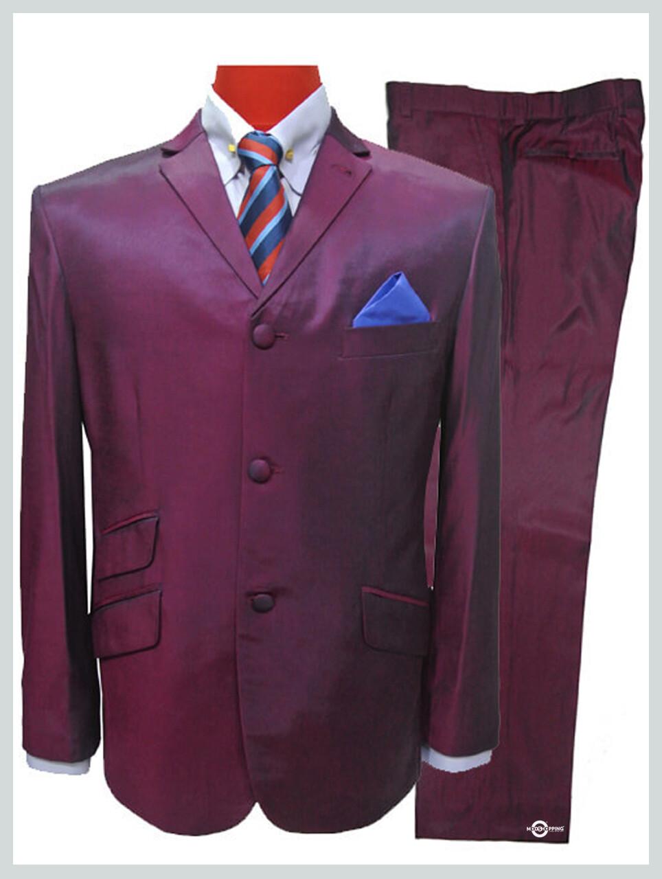 tonic suit burgundy wine mod fashion tonic suit for men,3 button tailored