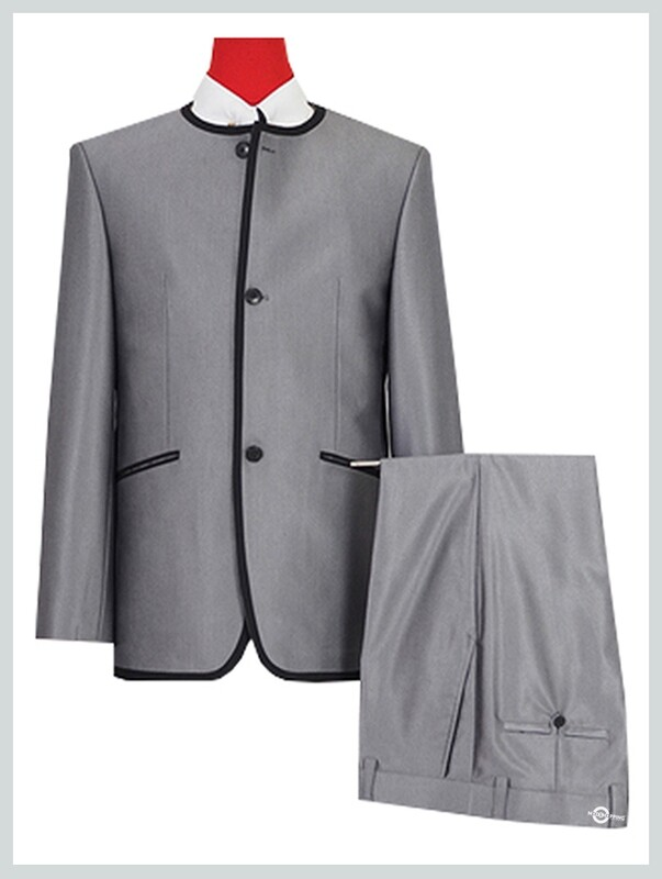 Beatle Collarless Suit | Silver Blue Beatles Tonic Suit