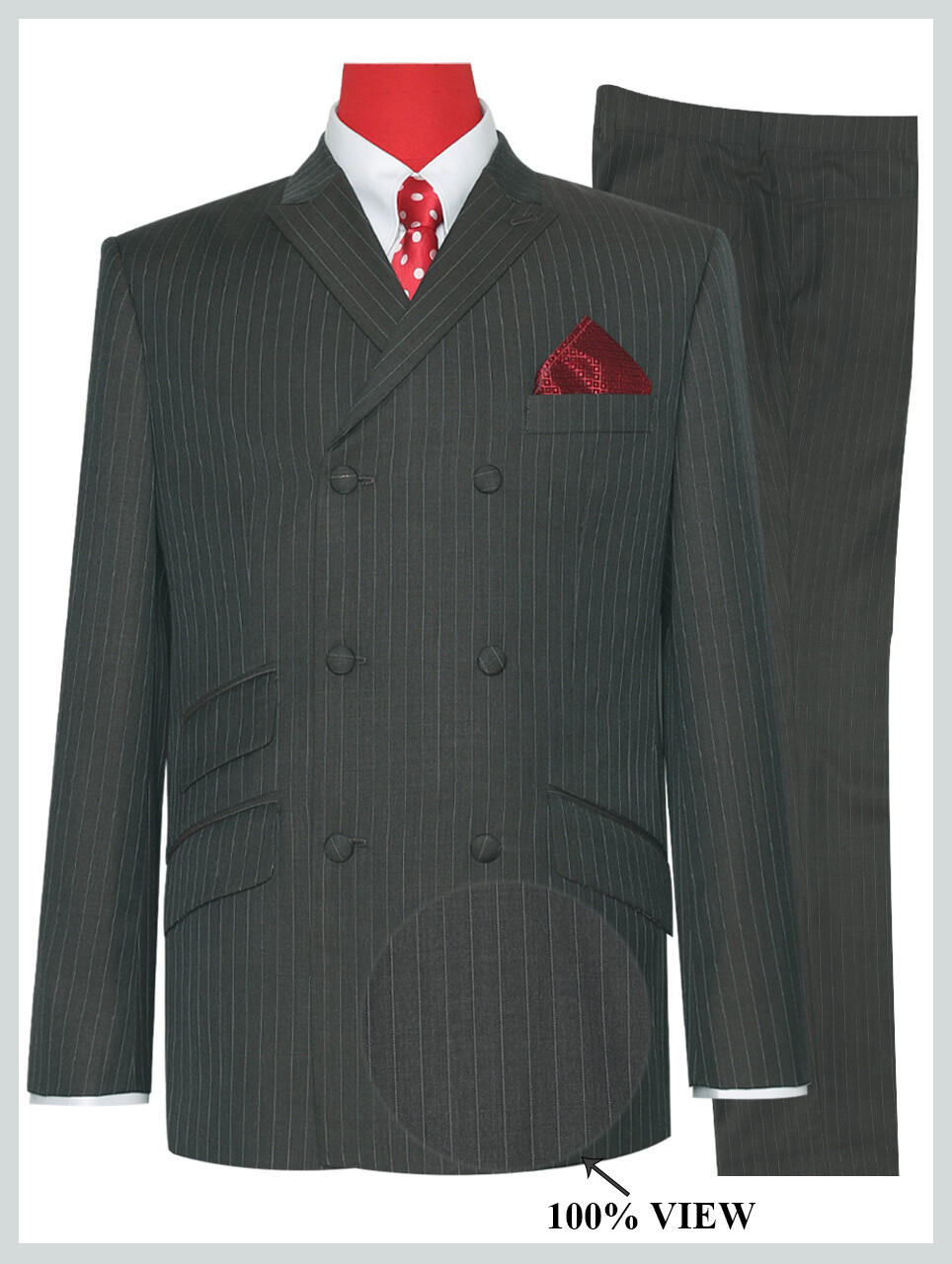 Double Breasted Suits | Pale Brown  Striped Suit