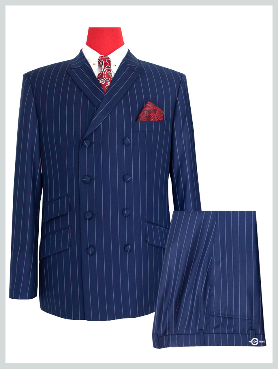 Double Breasted Suit | Navy Blue Striped Suit