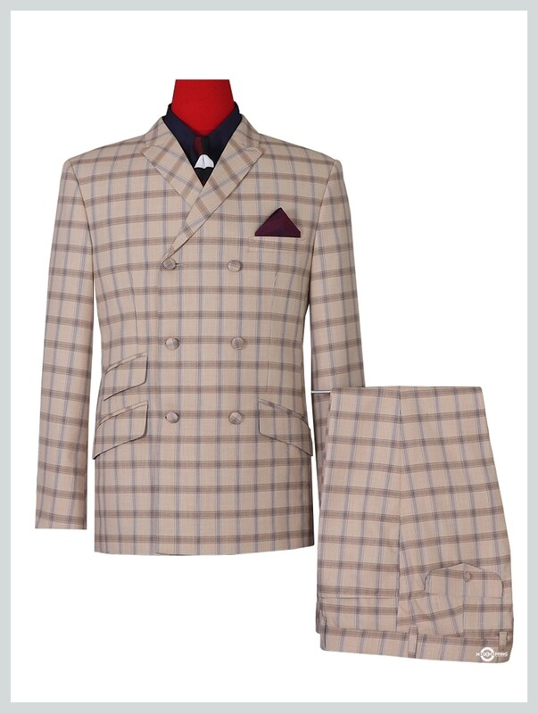 Double Breasted Suit | Classic 60's Vintage Beige Check