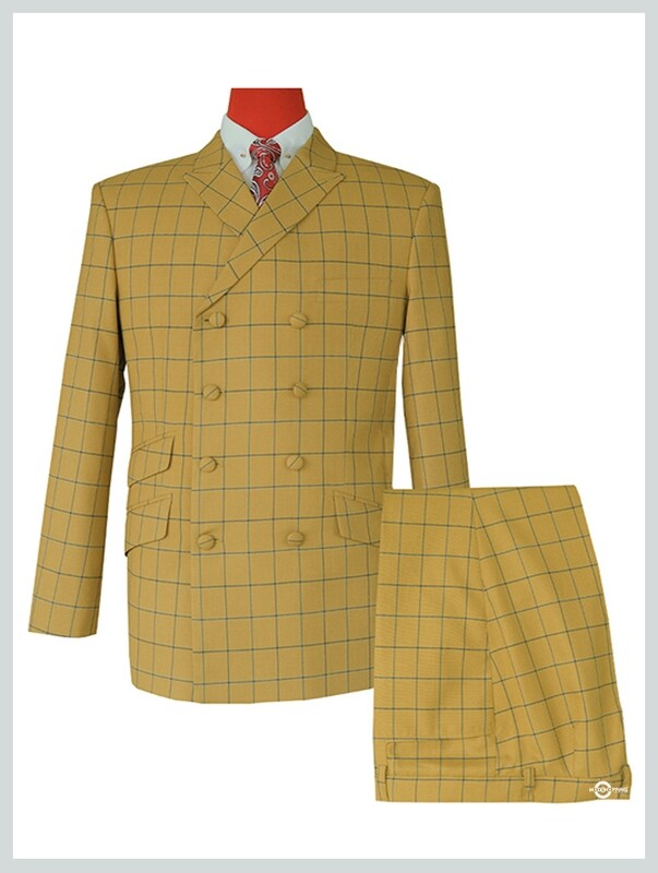 Double Breasted Suit | Sunflower Windowpane Check Suit