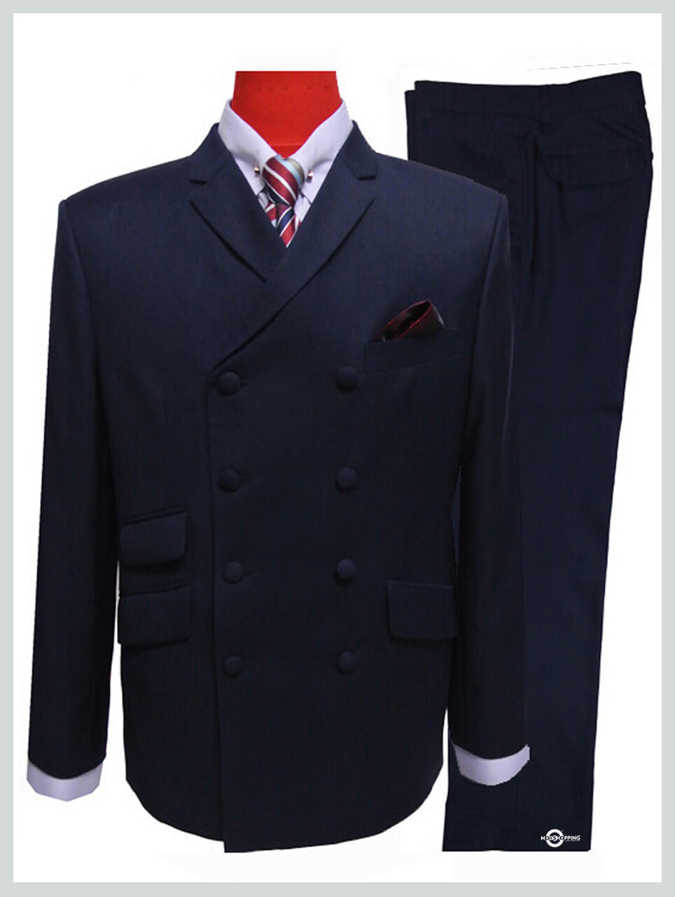 double breasted 60s fashion dark navy blue mod suit