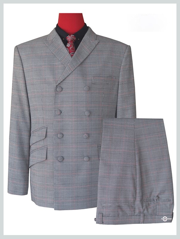 mod style 60s fashion check double breasted suit tailored