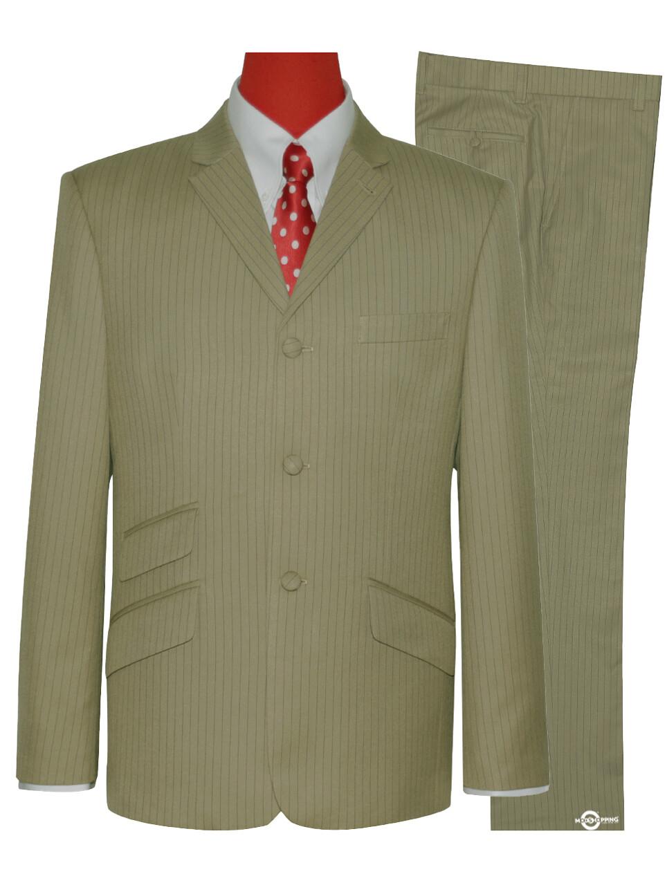 Mod Suit | Khaki Pinstripe Suit For Man