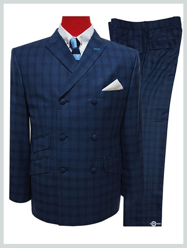 double breasted suits | 60s tailored navy blue check suit