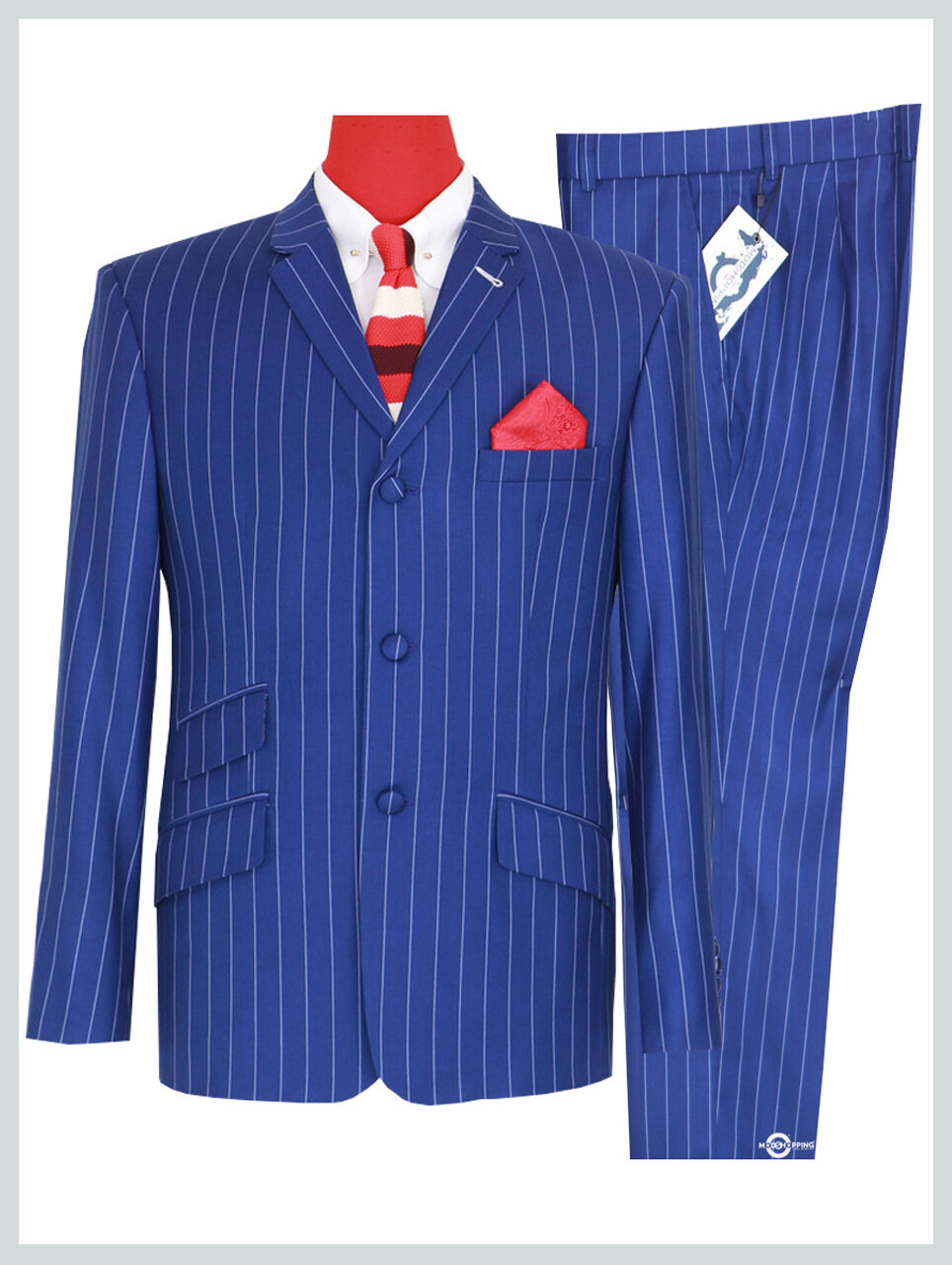Vintage Classic Royal Blue and White Striped 60s Suit