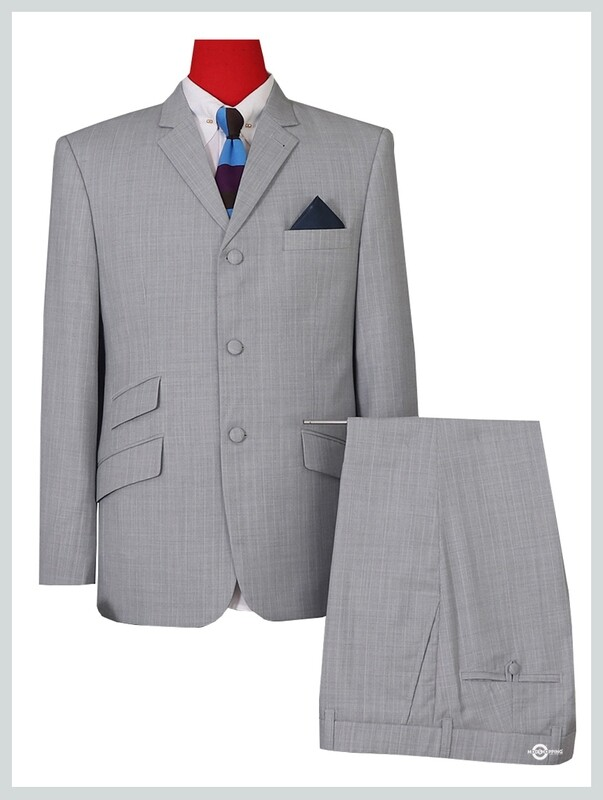 TAILORED 60s DESIGN LIGHT GREY PINSTRIPED SUIT