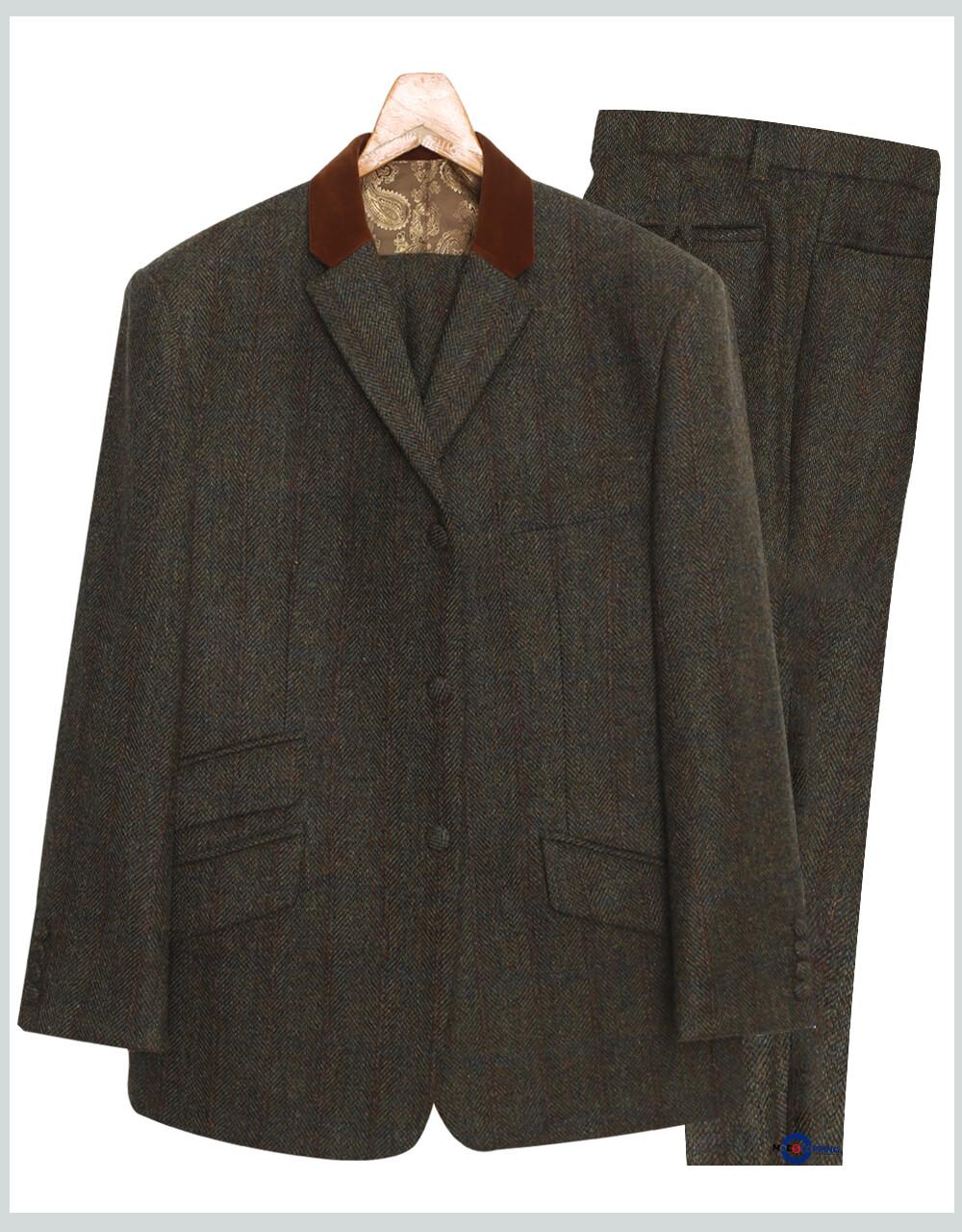 Men's 3 Piece Suit | Army Green Color Tweed Suit