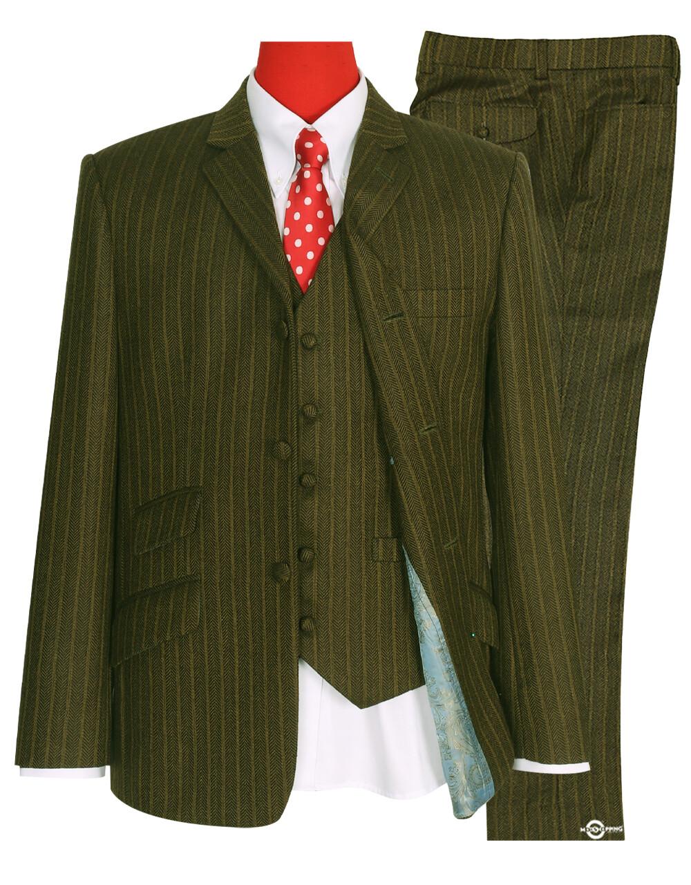 Mod 3 Piece Suit | Tobacco Color Herringbone Suit