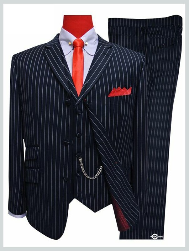3 Piece Suit| Dark Navy Blue Pinstripe Suit
