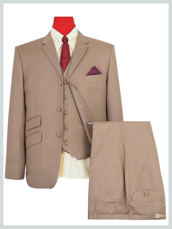 3 Piece Suit | Classic Light Brown Herringbone Suit