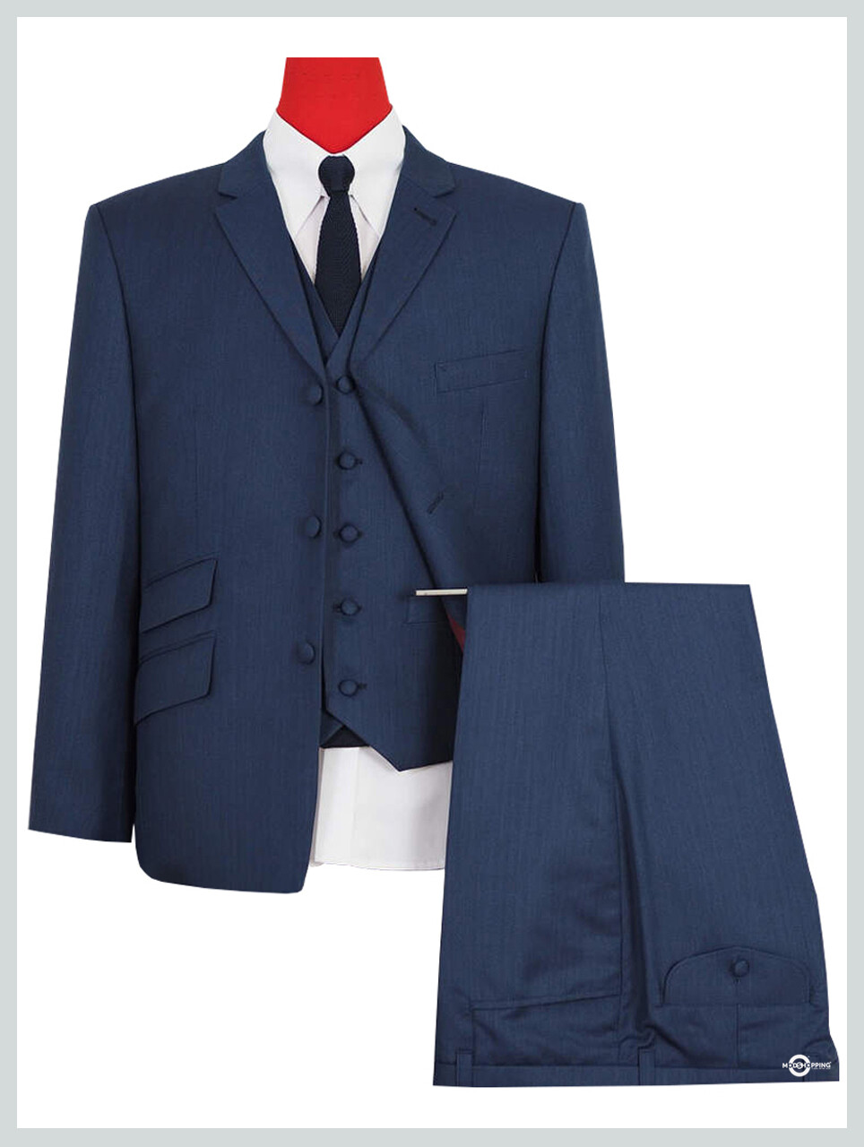 3 Piece Suit | Classic Midnight Blue Herringbone Suit