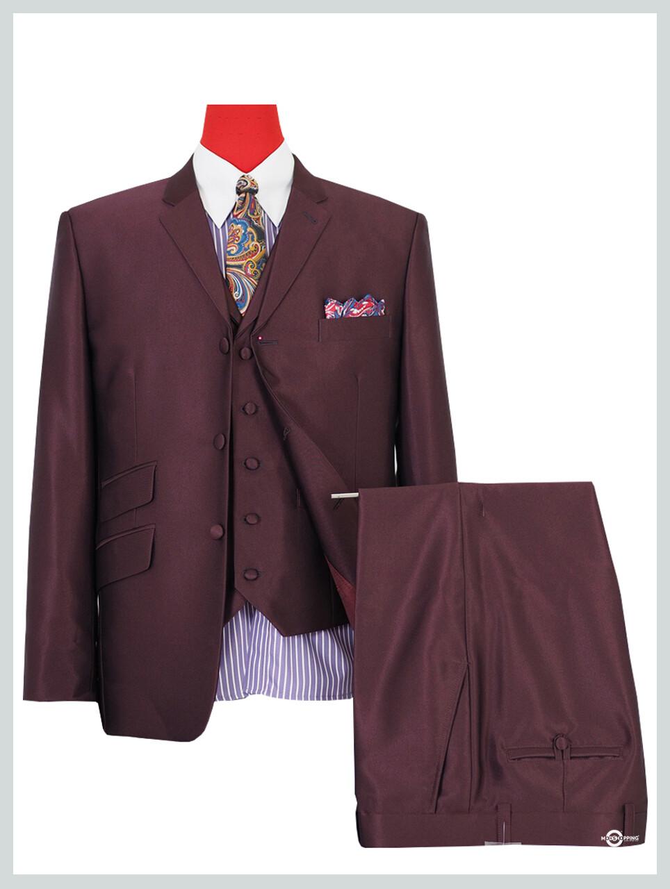 3 piece suit | burgundy tonic wedding suit