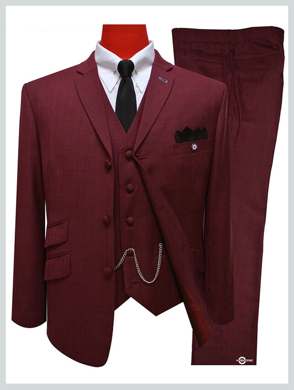 3 Piece Suit | Burgundy Prince Of Wales Retro Mod Suit