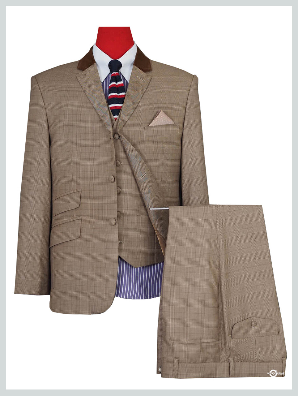 3 Piece Suit | Brown Prince Of Wales  Mod Suit