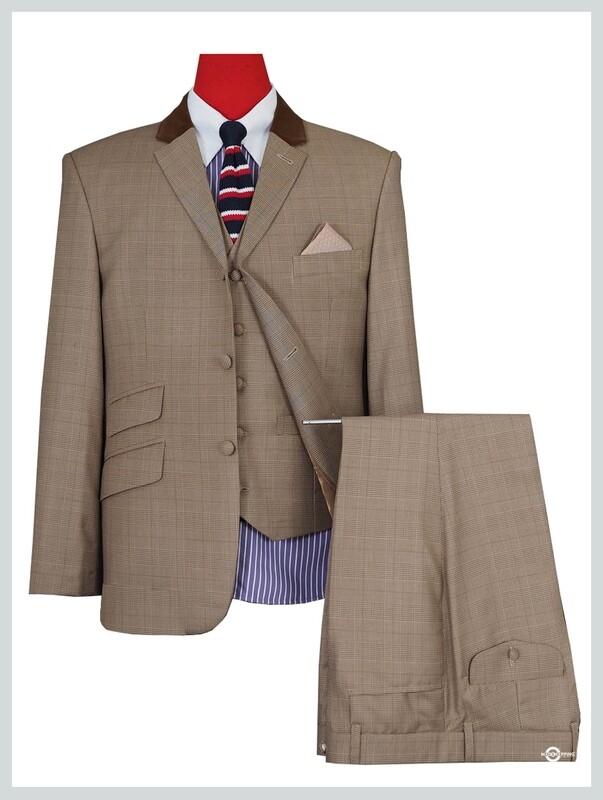 3 Piece Suit | Brown Prince Of Wales  Mod Suit