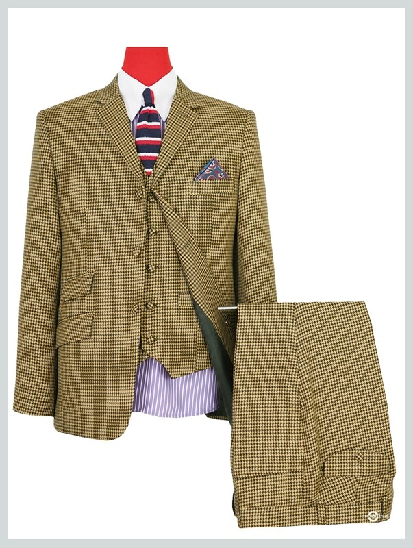 3 Piece Suit | Brown Houndstooth 60s Mod Style Suit