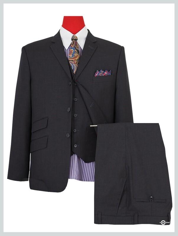 3 Piece Suit | 60s Mod Fashion Charcoal Color Suit
