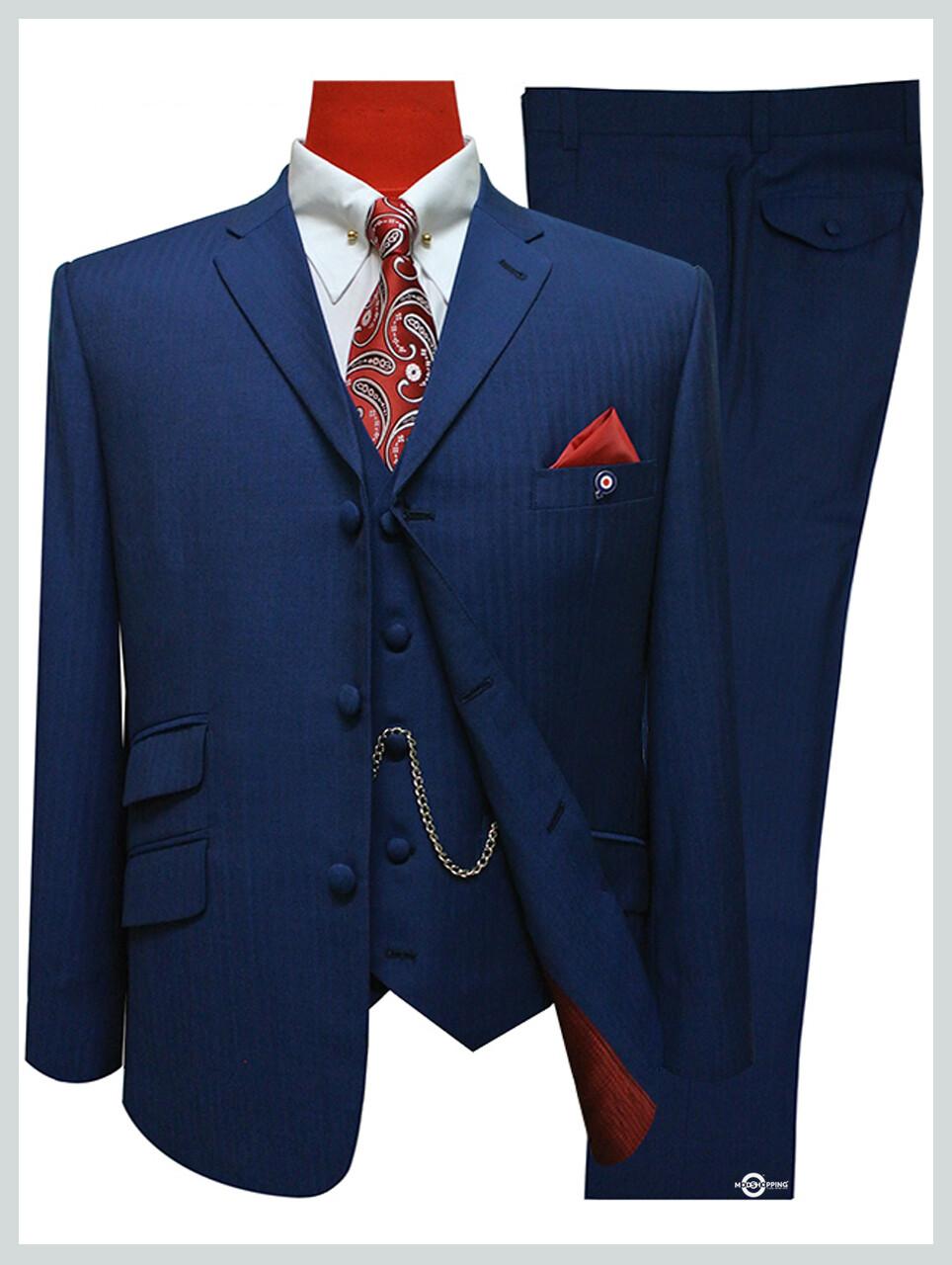 Herringbone Suit| Mens 3 Piece Sapphire Blue Tailored Mod Suit Uk.