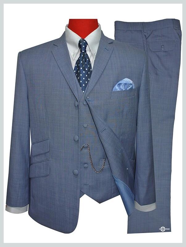3 Piece Suit | Tailored 60s Mod Sky Blue Color Suit