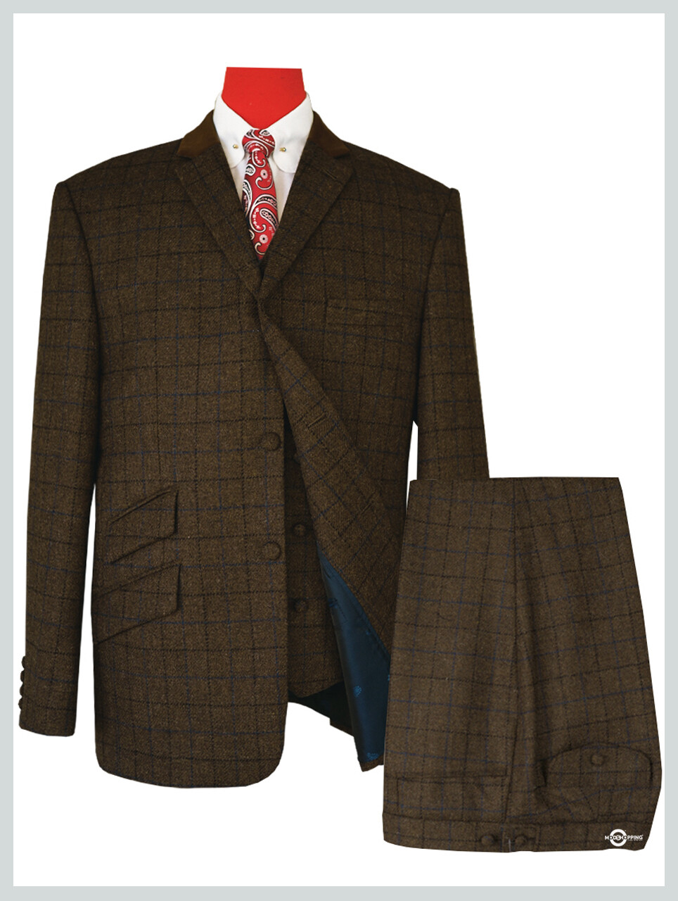 Men's 3 Piece | Coffee Windowpane Check Suit For Man