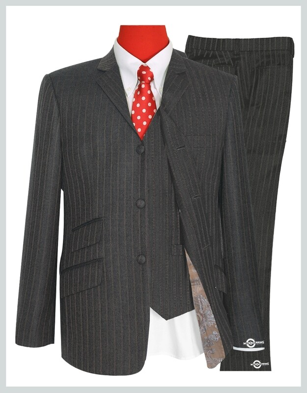 Mod 3 Piece Suit | Brown Grey Color Herring Bone Suit