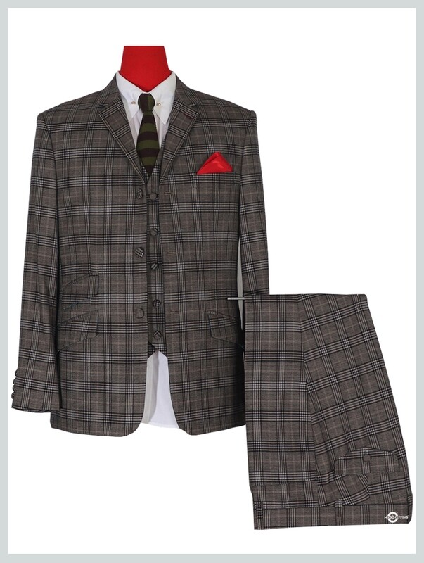 PRINCE OF WALES CHECK GREY 3 PIECE SUIT