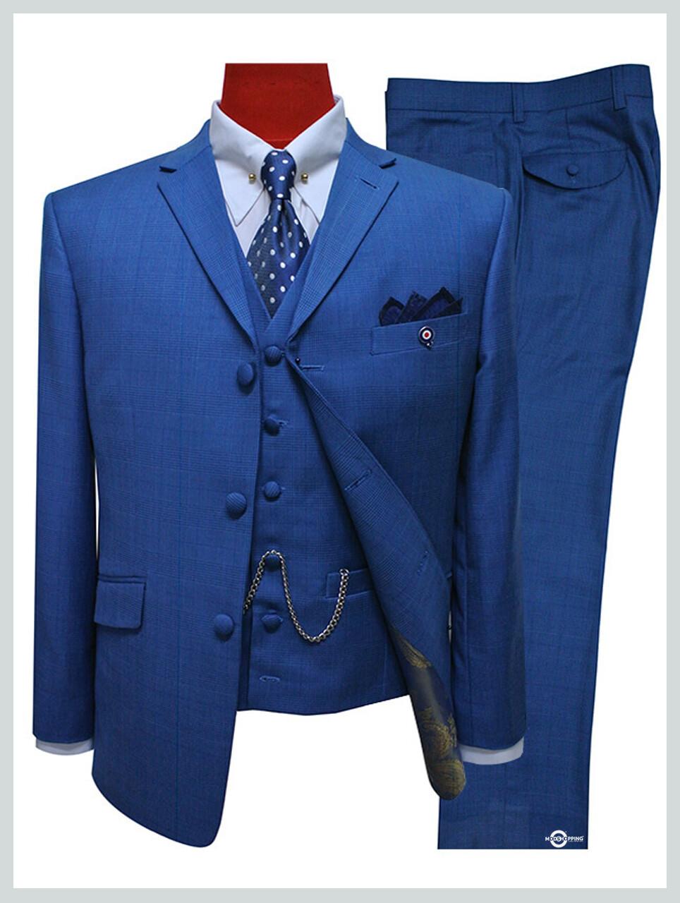 3 Piece Suit   Blue Prince Of Wales Check Suit