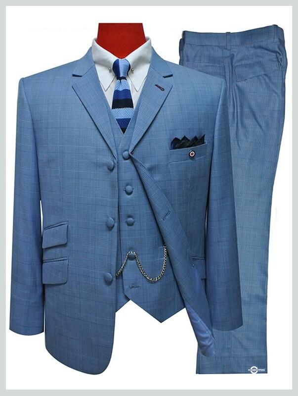 3 Piece Suit | Sky Blue Prince Of Wales Retro Mod Suit