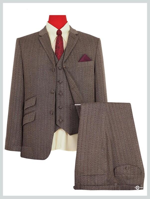 3 Piece Suit | Brown Herringbone Pinstripe Suit