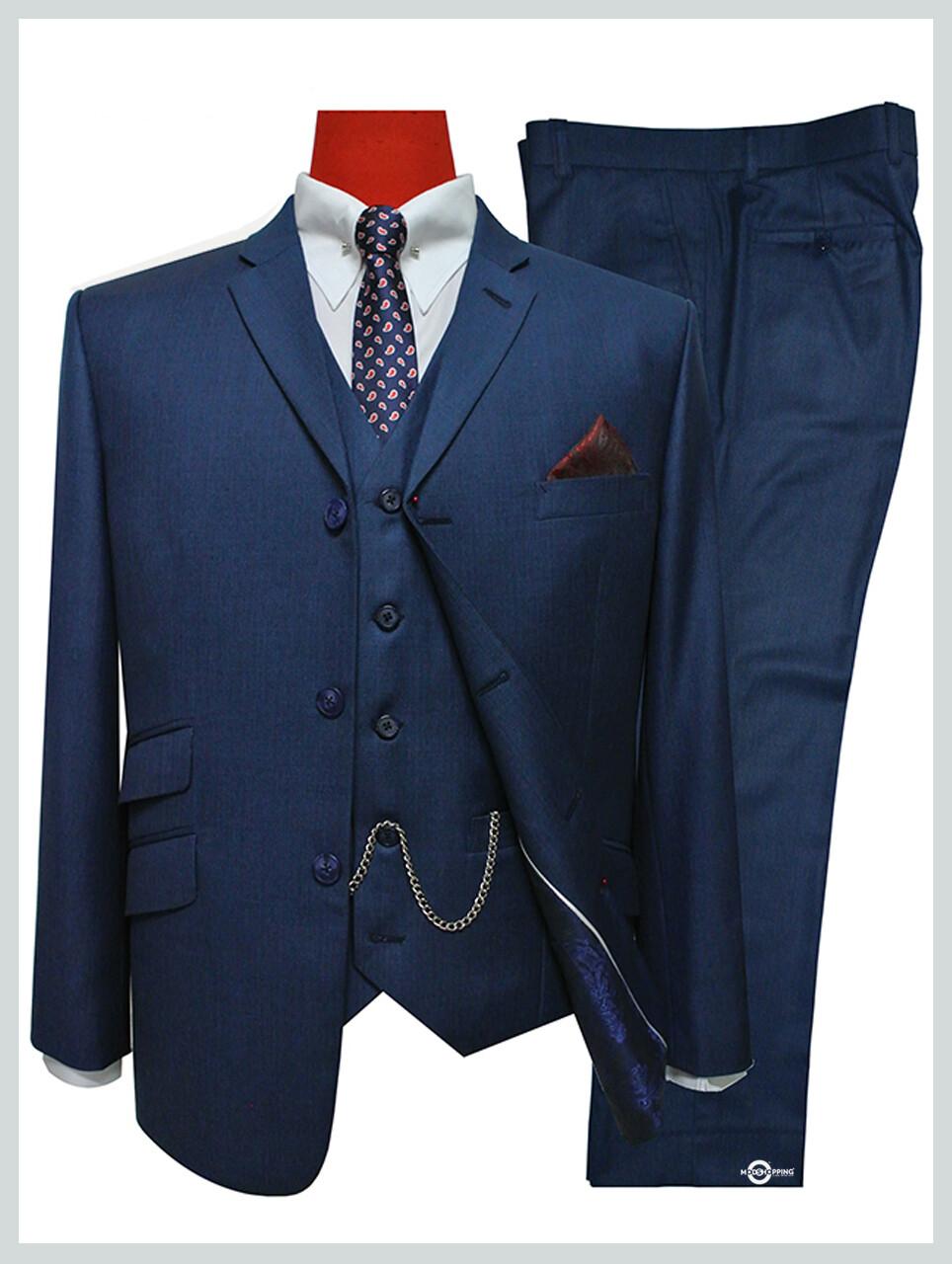 mens 3 piece suit|vintage style tailored uk pete blue mod 3 button suit 60s