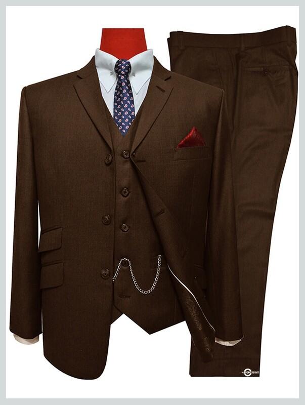 3 Piece Suit | Dark Brown Retro Mod  Tailored Suit